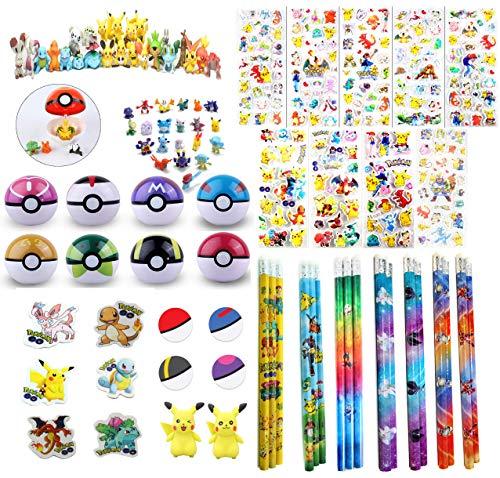 168 pc Pokemon Party Favor Bundle Pack: 6 Pokemon Figures, 6 Poke Ball, 144 Sticker, 6 Pencil & 6 Eraser -