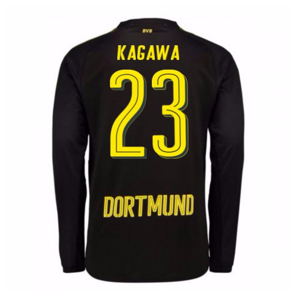 2017-18 Borussia Dortmund Away Long Sleeve Shirt (Kagawa 23) B077PJYDRSBlack XL Adults