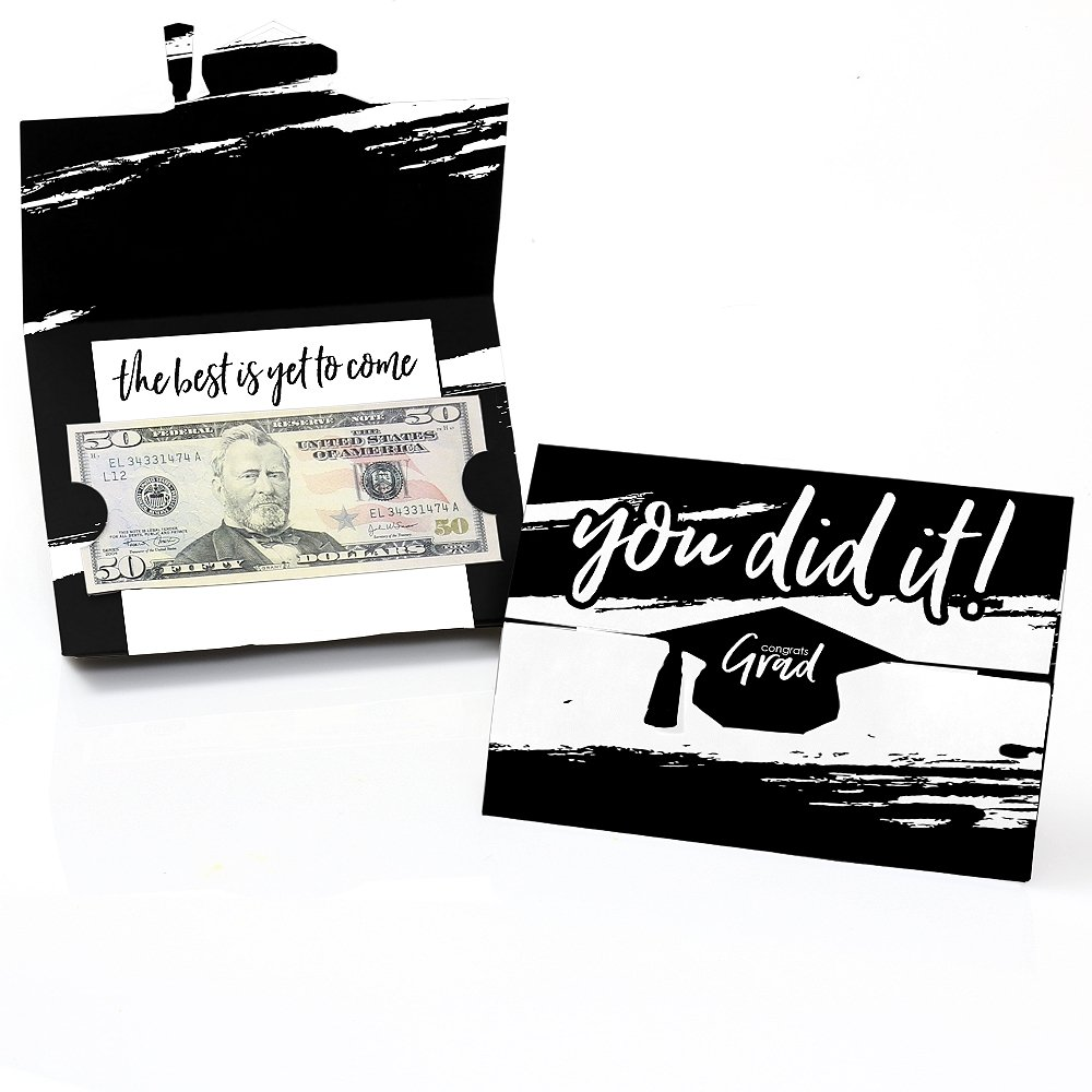 Black & White Grad - Best is Yet to Come - Black and White Graduation Party Money And Gift Card Holders - Set of 8