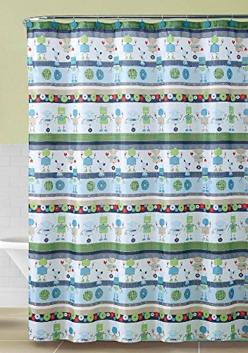 Amazon Luxury Home 13 Piece Robot Shower Curtain Set Blue