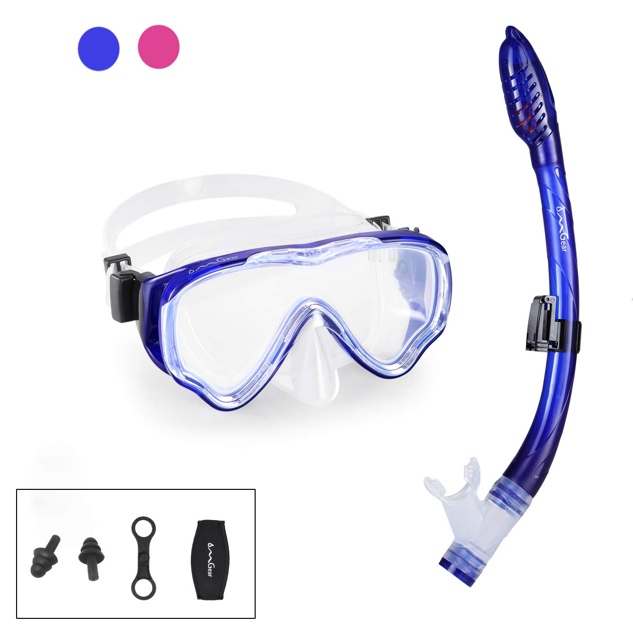 Kid Snorkel Set Snorkeling Gear Dive Mask Snorkel Diving Goggles Dry Top Anti-Fog Anti-Leak Panoramic View Easy Breathing Swim Gear Neoprene Mask Strap Cover Scuba Swimming Underwater(Blue-Kid ... by OMGear