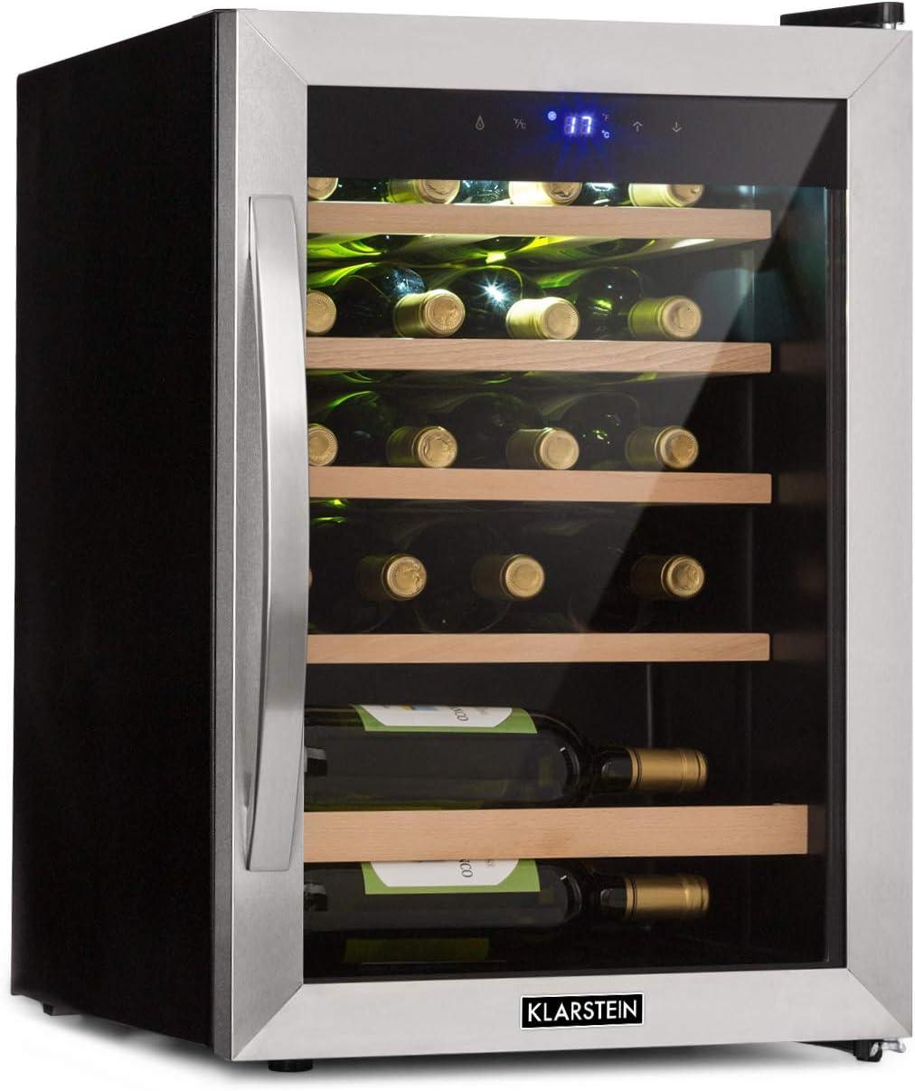 Klarstein Vinamour 19 Nevera para vinos con puerta acristalada - 19 botellas de vino, 65 L, 4-18°C, solo 39 dB, Iluminación interior, Control táctil, Marco de acero, Negro
