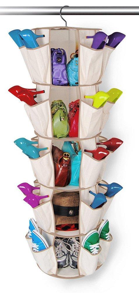 Organizer Hängeaufbewahrung Aufbewahrung für Accessoires Kleidung Schrankregal Kleiderschrank Ordnungssystem (Beige) LIUONEXI