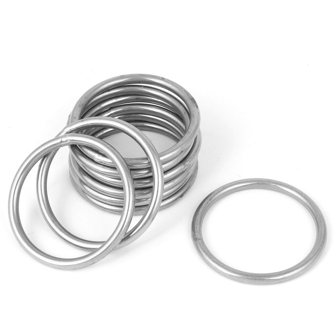 Uxcell a16022600ux0043 M5 x 60mm 201 Stainless Steel Webbing Strapping Welded O Rings
