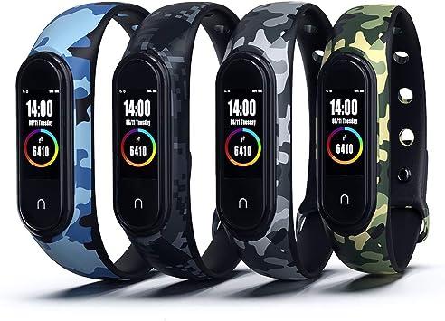 Cytech Correa para Xiaomi Mi Band 4 / Mi Band 3 Pulsera, Camuflaje Reloj Silicona Reemplazar Banda Pulsera para Xiaomi Mi Band 3/4 (4 Piezas): Amazon.es: Deportes y aire libre