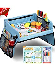 Upgraded Kids Travel Tray with Dry Erase Top Car Seat Travel Tray with 16 Organizer Pockets for Car Stroller Plane Bonus 5 Educational Drawing Papers & 6 Dry Erase Pens