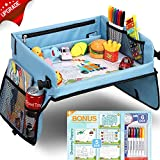 Upgraded Kids Travel Tray with Dry Erase Top Car Seat Travel Tray