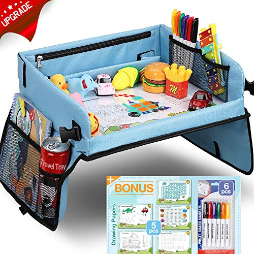 Upgraded Kids Travel Tray with Dry Erase Top Car Seat Travel Tray with 16 Organizer Pockets for Car Stroller Plane Bonus 5 Educational Drawing