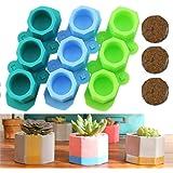 3 Pack Silicone Flower Pot Mold Succulent Plants Planter Pot Mould Concrete Moulds, Candle Holder Mold DIY Ice Shot…
