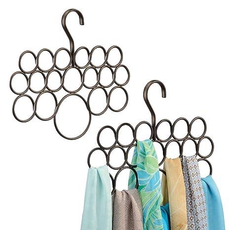 mDesign Percha para pañuelos - Juego de 2 unidades - Organizador de pañuelos, chales, bufandas y más - Organizador de armarios para accesorios con 18 ...