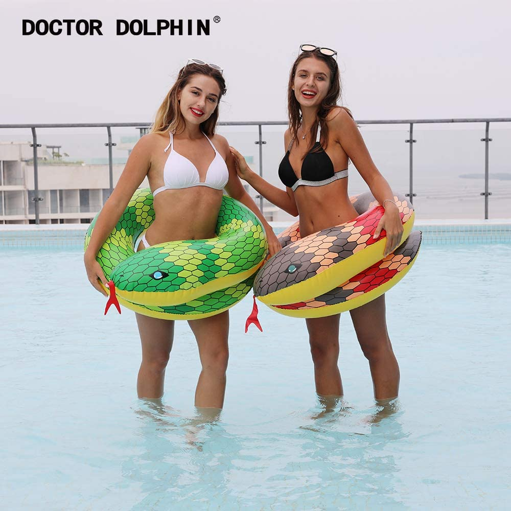 Summer Outdoor Beach Entertainment for Adults /& Kids Green Swim Pool Floats Accessories Decoration for Water Party doctor dolphin Inflatable Giant Snake Swim Ring