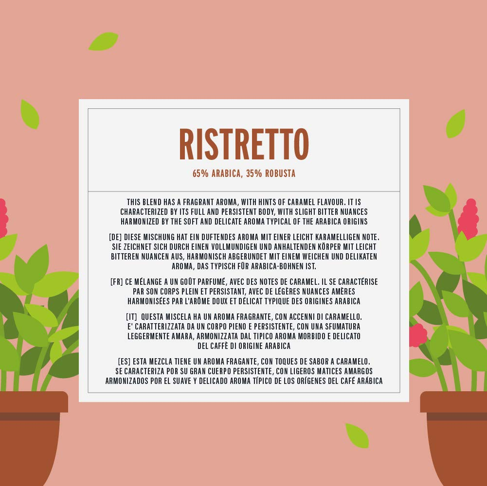 Marca Amazon - Happy Belly Ristretto Café UTZ molido de tueste natural en cápsulas (compostables) compatibles con Nespresso, 5 x 10 cápsulas