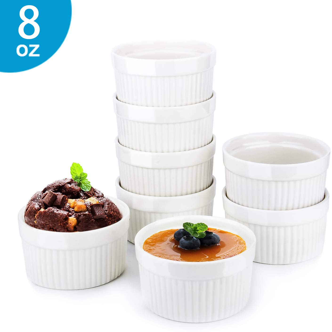 8 Oz Ramekin Bowls,8 PCS Bakeware Set for Baking and Cooking, Oven Safe Sleek Porcelain White Ramikins for Pudding, Creme Brulee, Custard Cups and Souffle Small instant table tray