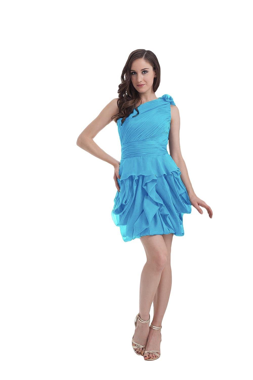 Bridal_Mall Women's One Shoulder Short Chiffon Prom Dress