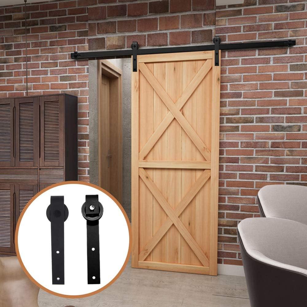 LWZH 9.6FT/291cm Herraje para Puerta Corredera Kit de Accesorios para Puertas Correderas,Negro J-Forma: Amazon.es: Bricolaje y herramientas