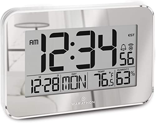 Marathon Atomic Wall Clock with Alarm, Snooze, and Table Stand Easy to Read Date, Temperature and Humidity. 8 Time Zones. Batteries Included. Color-Mirrored. SKU-CL030060SV Renewed