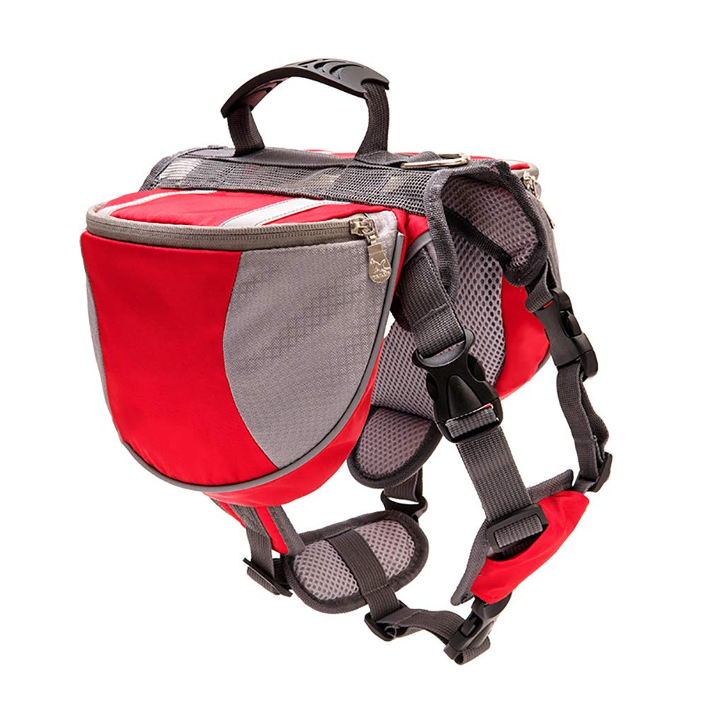 Red Small Red Small Dog Saddle Bag Harness,Pet Travel Backpack Reflective Strip Design is Safer Breathable mesh Cloth Does not Stain Suitable for pet Travel Camping