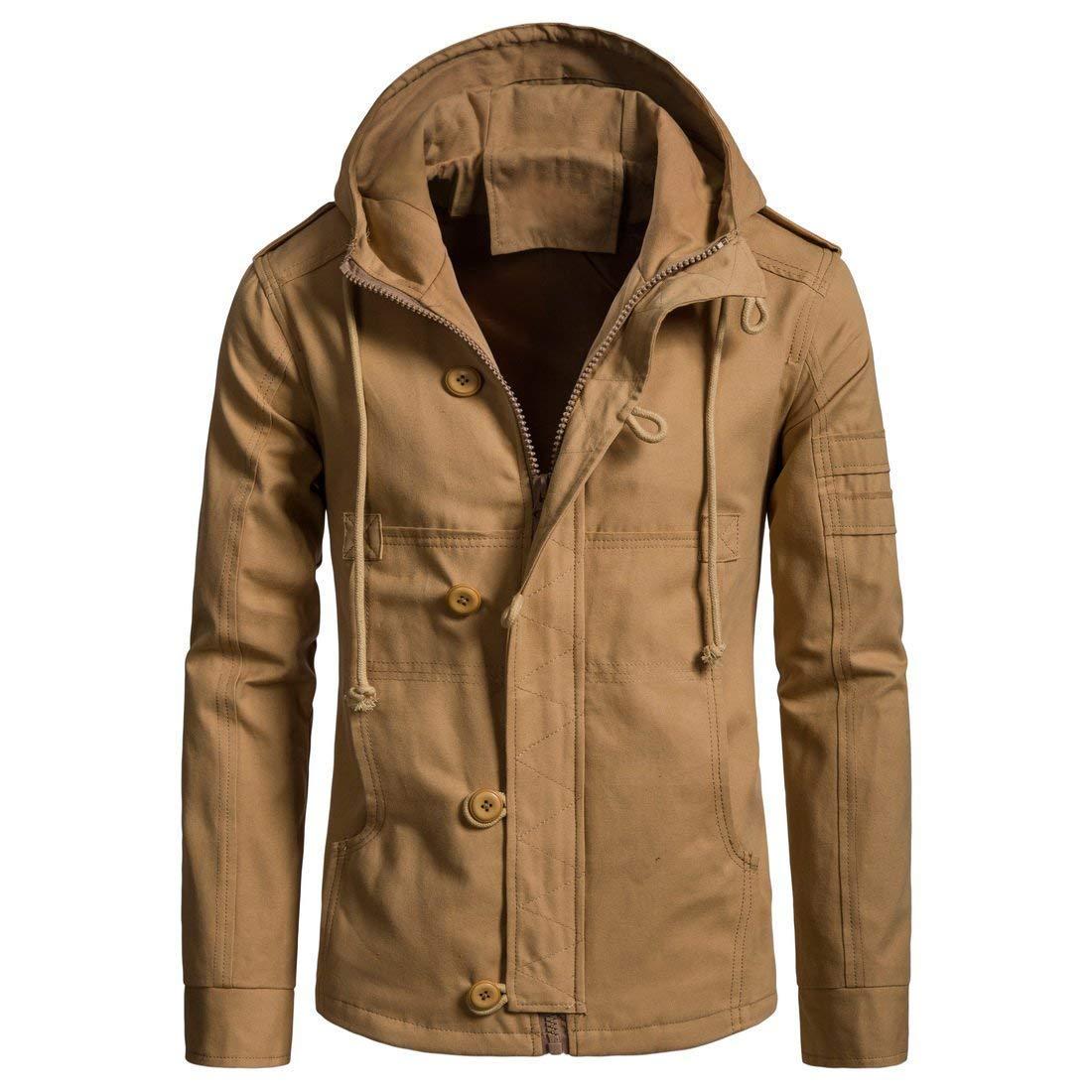 WEEN CHARM Men's Cotton Lightweight Zip Up Hooded Jacket Windbreaker Army Anorak Parka Hoodie Jacket with Drawstring