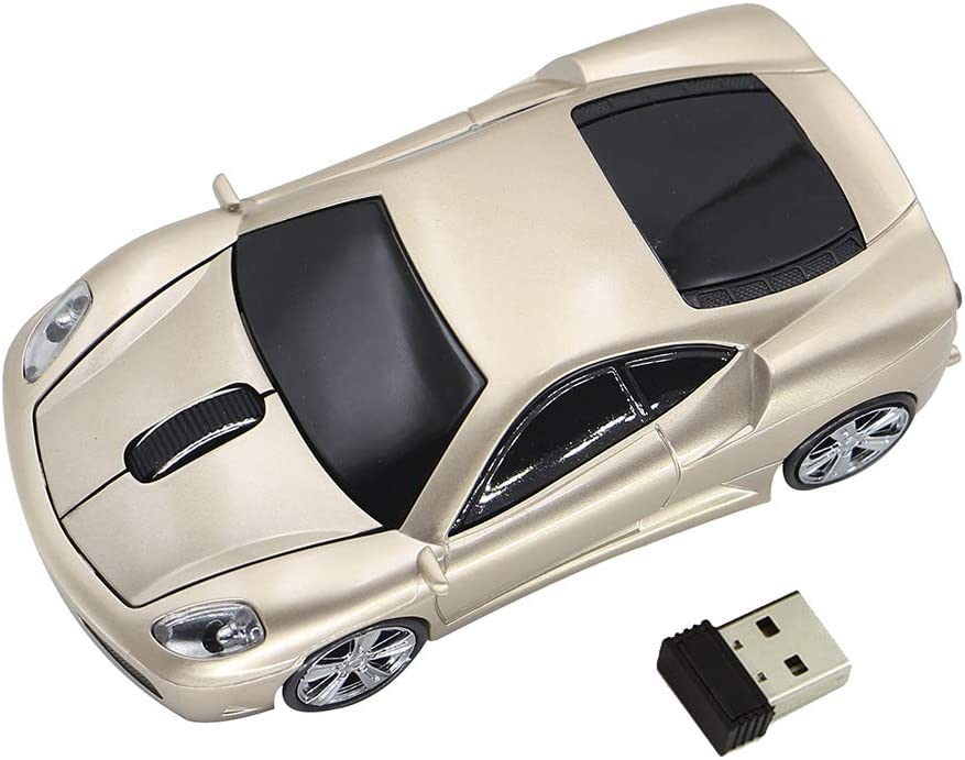 Ai5G for Ferrari Car Mouse Wireless Sports Car Mouse Computer Mice 2.4GHz 1600dpi Optical Gaming Mice (Gold)