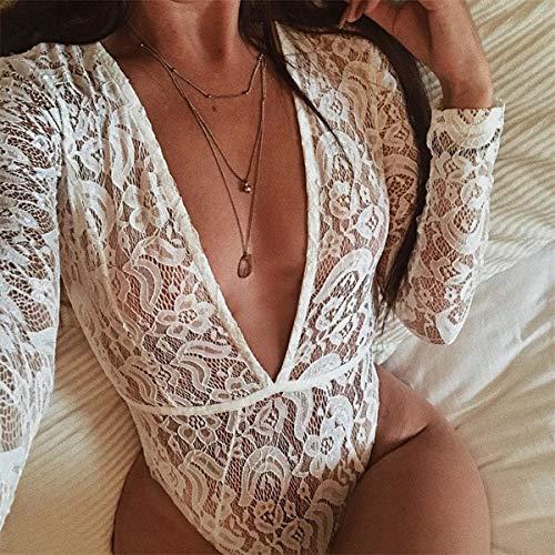 Fashion Blanc Femmes T de et Slim Combishorts Manches Bodysuit Haut Smalltile Perspective Printemps Automne V Shirts Chemisiers Tops Sexy Dentelle Justaucorps Col Profond 0twCqBg