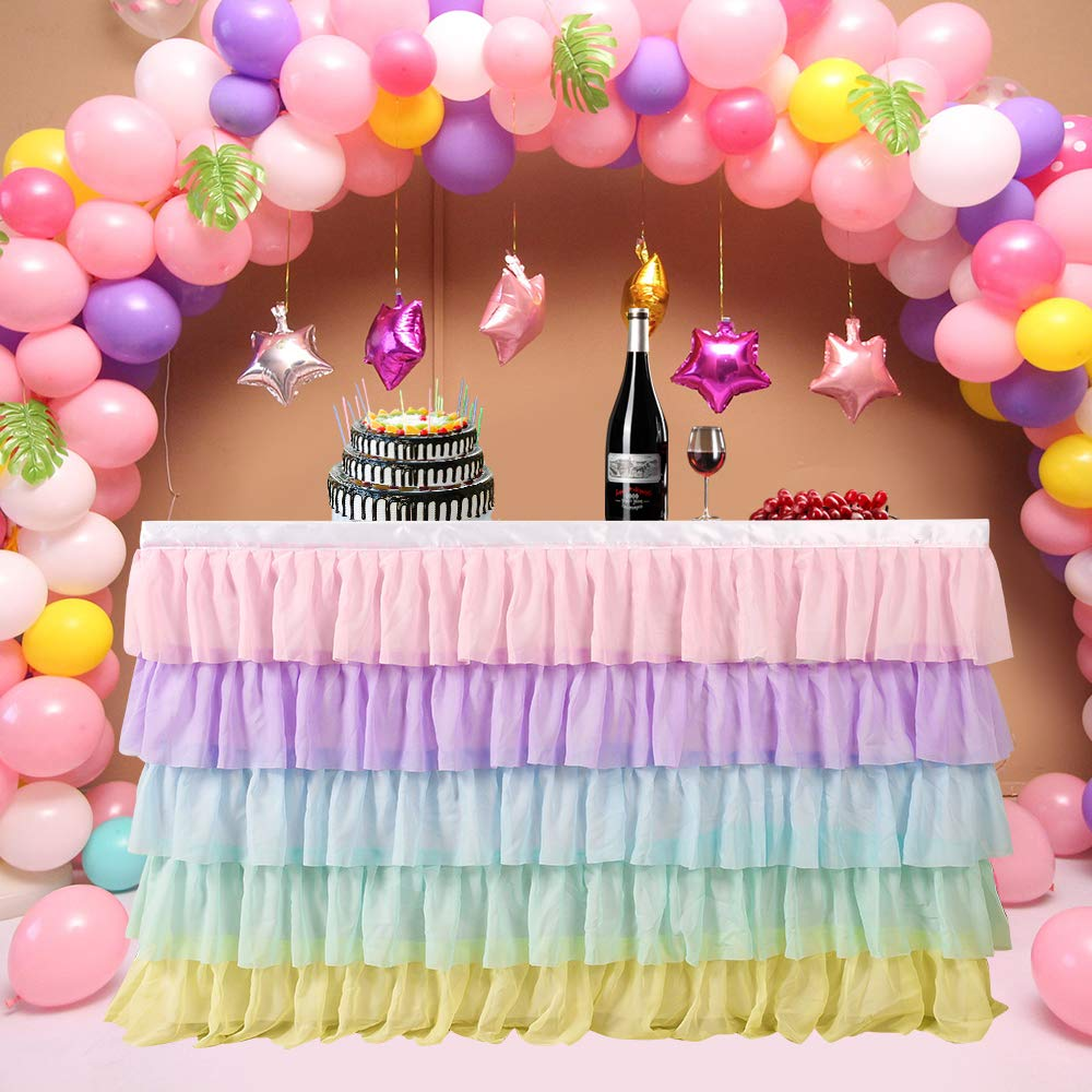 14FT Rainbow Table Skirt for Rectangle or Round Table Chiffon Tulle Table Skirting for Party Baby Shower Wedding Birthday Decor by DPWT