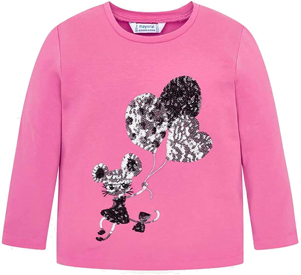 Mayoral Reversible Sequin Balloons Pink Long Sleeved Tee