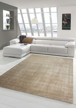 Wohnzimmer Teppich modern Kurzflor mit Uni Design in Taupe Größe 160x230 cm