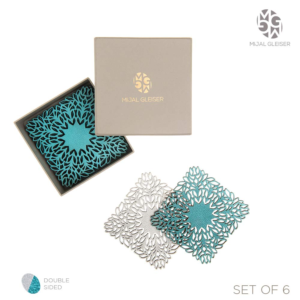 Mijal Gleiser Double Sided Coasters Laser Cut Heat Resistant Non Slip Stain Resistant Set of 6 (Sea Flower Collection Silver-Turquoise) by BLASANI