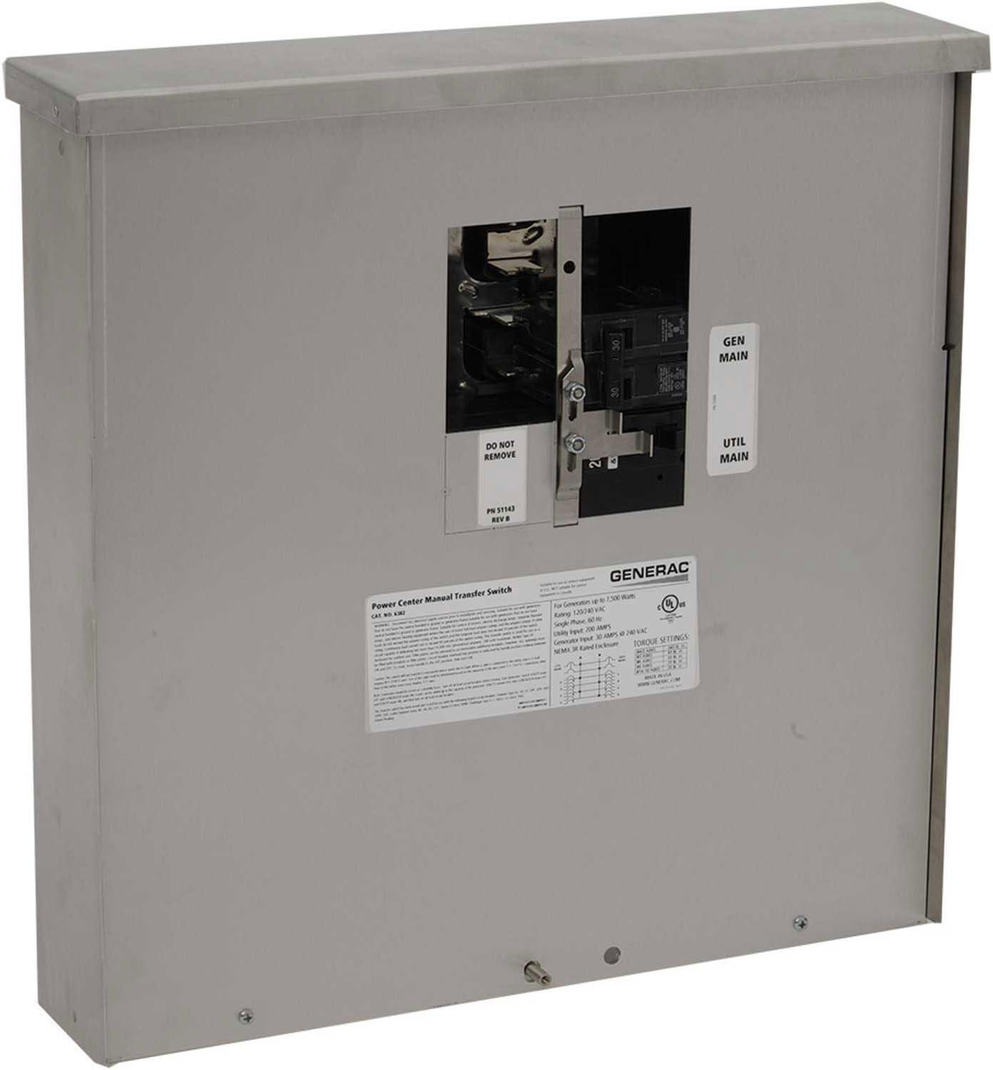 generac 30 amp generator plug wiring diagram amazon com generac 6382 30 amp manual transfer switch outdoor  generac 6382 30 amp manual transfer