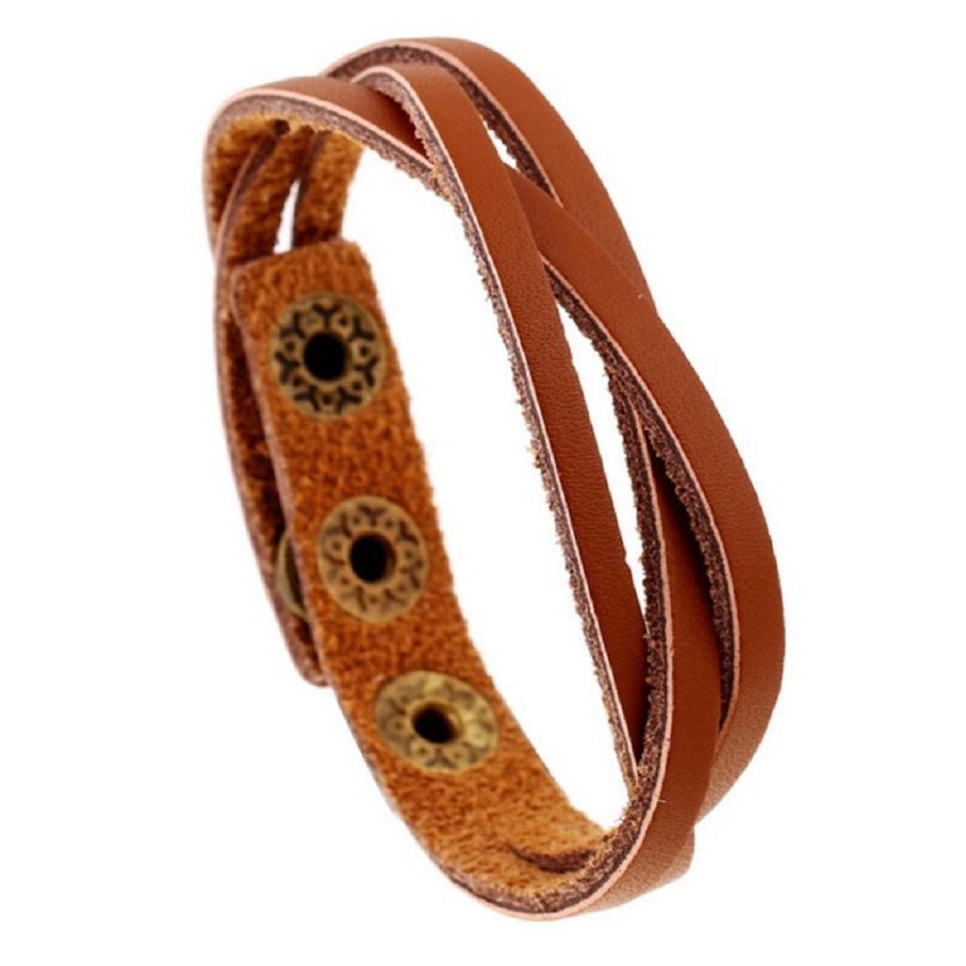 New! Laimeng Leather Wrap Braided Wristband Cuff Punk Men Women Bracelet Bangle (Khaki)