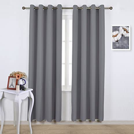 Exceptional NICETOWN Blackout Curtains Panels For Bedroom   Three Pass Microfiber Noise  Reducing Thermal Insulated Solid Ring