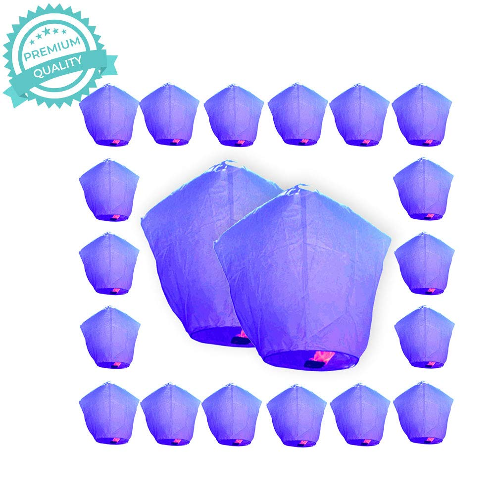 Just Artifacts Premium Quality ECO Wire-Free Flying Chinese Sky Lanterns (Set of 20, Diamond, Purple) - Topnotch Flight, Biodegradable, Environmentally Friendly Lanterns! by Just Artifacts