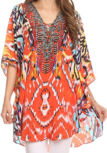 - Sakkas SS1610 - Balloon Top Tallulah Wide Circle Blouse Poncho Top with Tie Neck Enclosure with Beads - Sunset Orange/Multi - OS