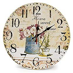 LOHAS Home 12 Inch Silent Vintage Design Wooden Round Wall Clock, Vintage Arabic Numerals Design Rustic Country Tuscan Style Wooden Decorative Round Wall Clock(Cafe & Flower)