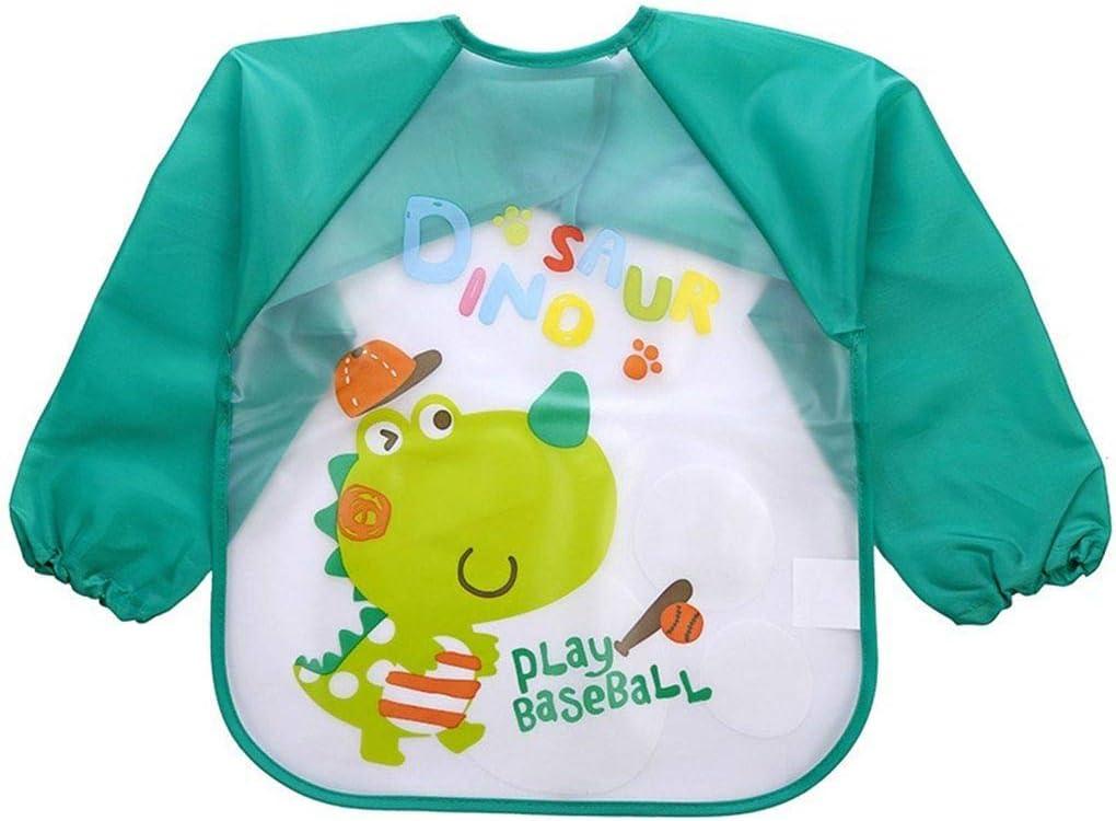 Uzinb Lovely Baby Baberos Manga Larga Infantil del bebé Impermeable Alimentación del Delantal plástico de los niños Mono Babero del niño Bufanda