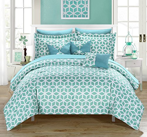 Chic Home Stefanie 10 Piece Comforter Set Geometric Diamond Printed Reversible Bed in a Bag with White Sheets Included, Queen Green