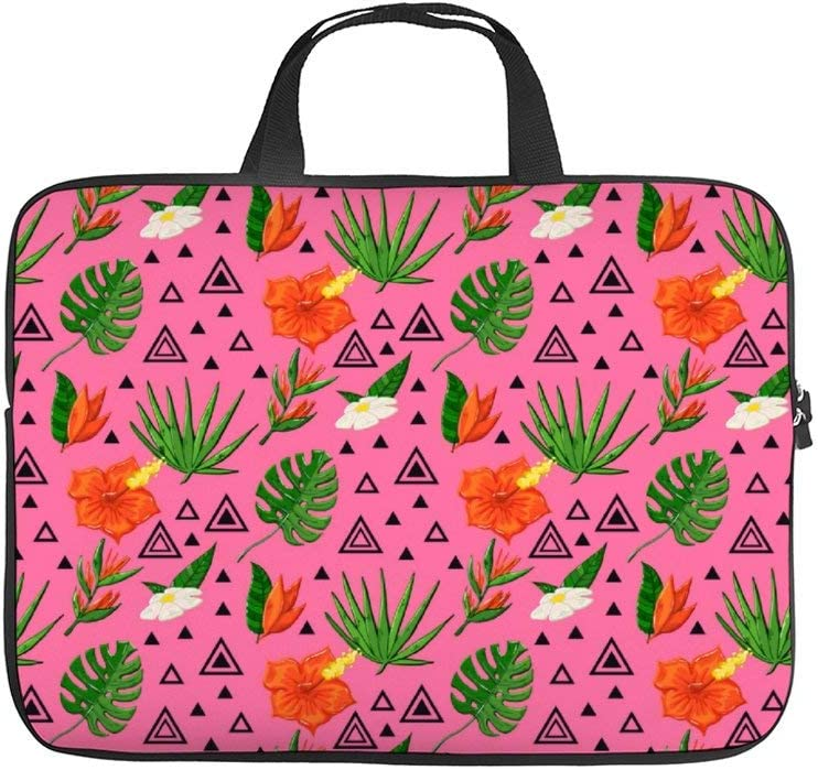 """Tropical Pattern with Monstera 10 Inch Laptop Sleeve Case Protective Cover Carrying Bag for 9.7"""" 10.5"""" Ipad Pro Air/Samsung Galaxy Tab"""