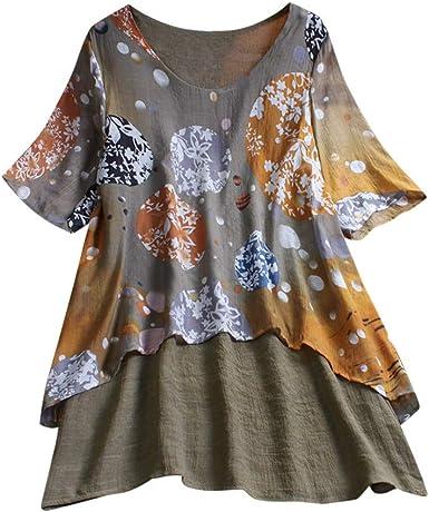 Taille Plus femmes coton Tops T-Shirt Vintage bohème Floral vrac Blouse
