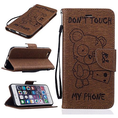 iPhone 6 Plus / 6S Plus (5,5 Zoll) Custodia in Pelle Protettiva Flip Cover per iPhone 6 Plus / 6S Plus (5,5 Zoll) Snap-on Magnetico Bookstyle TPU Case - Cozy Hut Fatto a Mano Custodia Wallet Protettiv