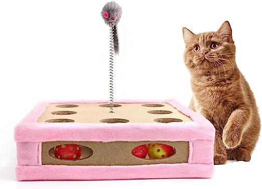 Juguete rascador para gatos, cajas de maquillaje para gatos, almohadilla interactiva para entrenamiento, ratón, juguete con