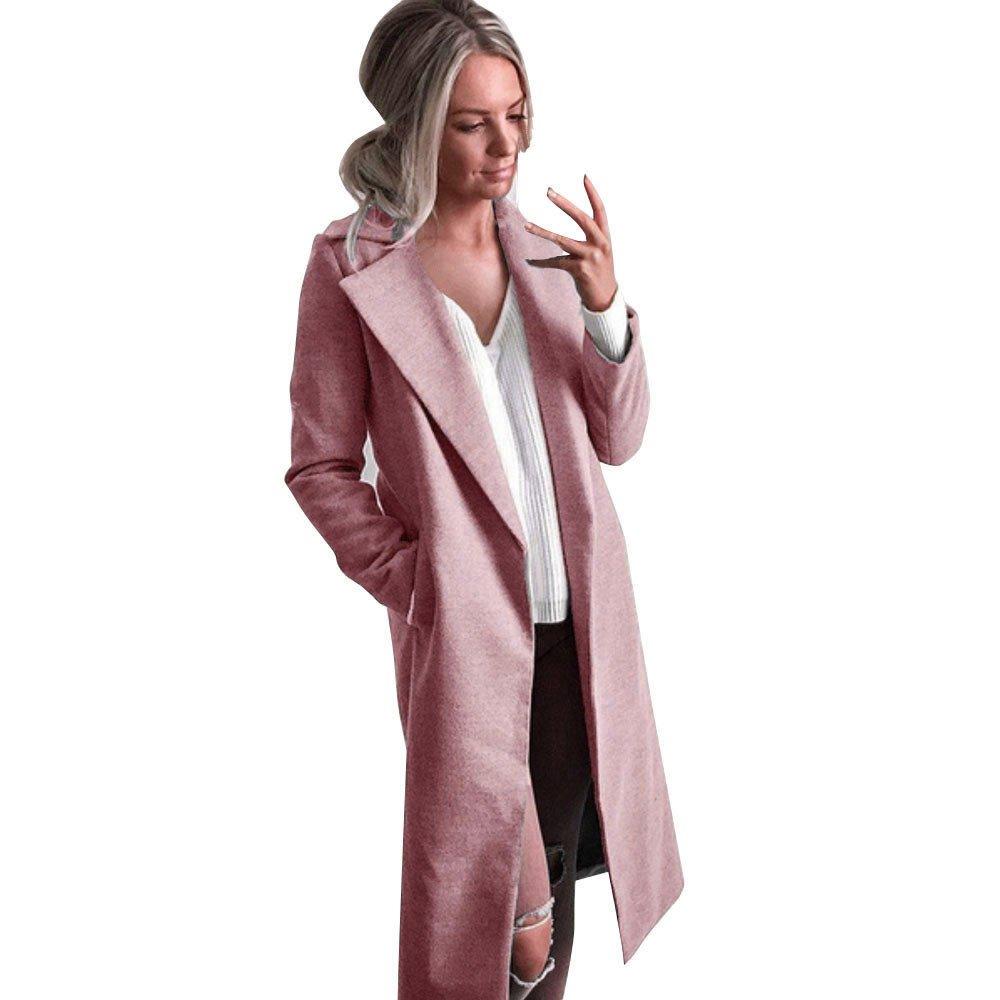 Winter Womens Long Coats,KIKOY Lapel Parka Jackets Cardigan Overcoat Outerwear Pink by Kikoy womens jackets