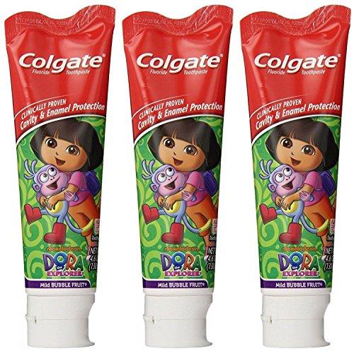 Colgate Dora The Explorer Fluoride Toothpaste, Mild Bubble Fruit Flavor, 4.6 Oz (Pack of 3)