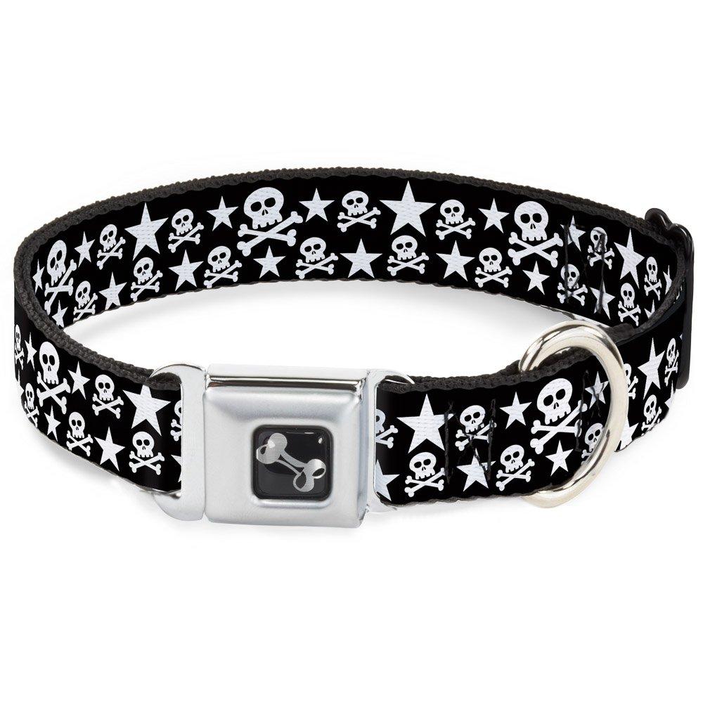 Buckle-Down Seatbelt Buckle Dog Collar Skulls & Stars Black White 1  Wide Fits 11-17  Neck Medium
