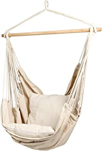 CCTRO Hanging Rope Hammock Chair Swing Seat, Large Brazilian Hammock Net Chair Porch Chair for Yard, Bedroom, Patio, Porch, Indoor, Outdoor - 2 Seat Cushions Included with Carry Bag