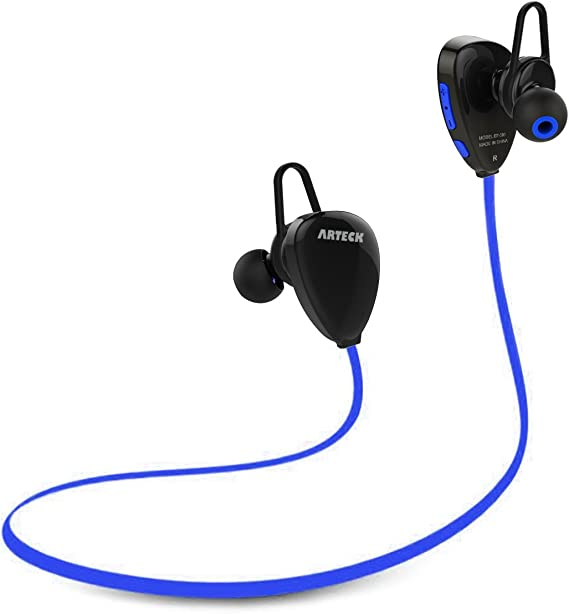 Amazon Com Arteck Wireless Bluetooth Headphones For Running Sports Portable Earphones With Rechargeable 15 Hours Playing Battery For Iphone Xs Max Xs Xr X 8 Plus 7 Se 6 Ipod Android Smart Phones Blue