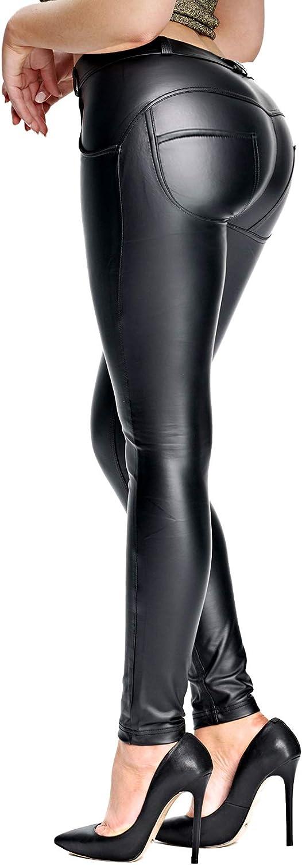 Women Faux PU Leather Skinny Pants High Waist Push Up Butt Lift Stretch Legging