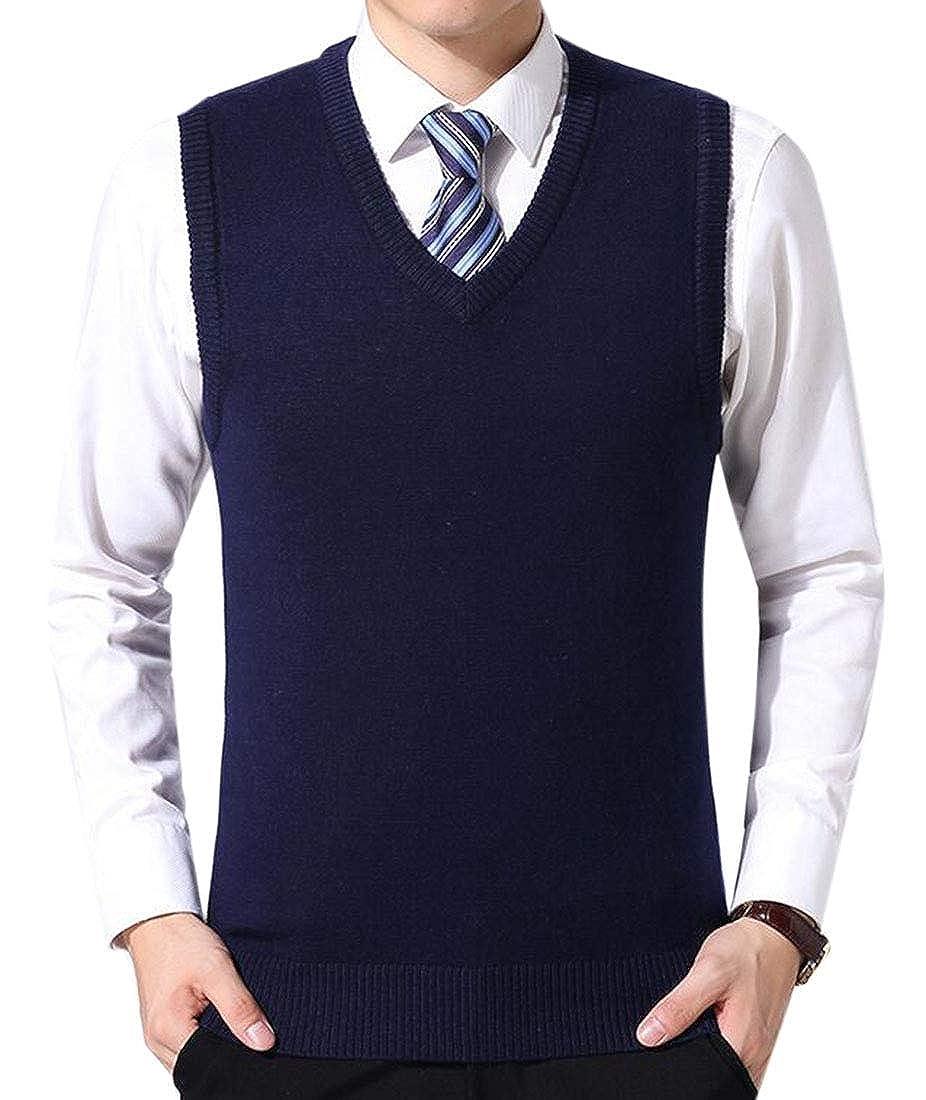 BU2H Men V-Neck Classic Solid Sleeveless Pullover Knitting Vest Sweater