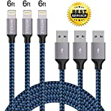 ANTAOLE Phone Charger, 3PACK 6Feet Nylon Braided Charging Cable Cord Lightning to USB Cable Charger Compatible iPhone iPod, iPad, IOS11 More (Blue)