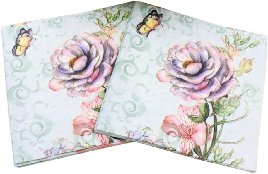 4 x Paper Napkins for Decoupage Crafting Table Dried Flowers 125