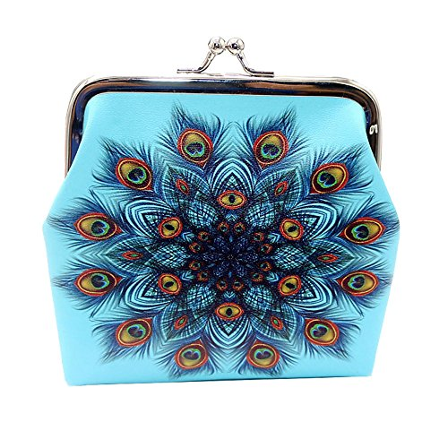 (Women's Leather Colorful Print Wallet Credit Card Holder Purse Metal Frame Kissing Lock Coin Mini Clutch)
